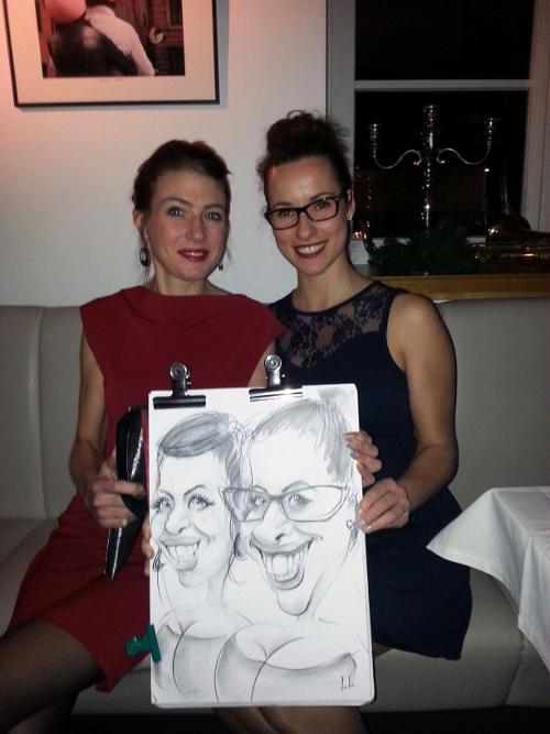 Caricature femmes soirée privée Luxembourg